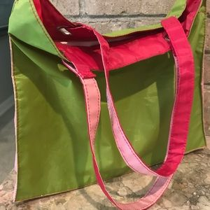 Handbags - Chartreuse and pink tote bag